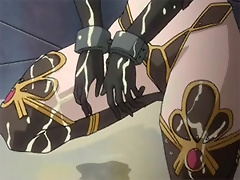 Anime miss massages Monster's penis before gets fucked